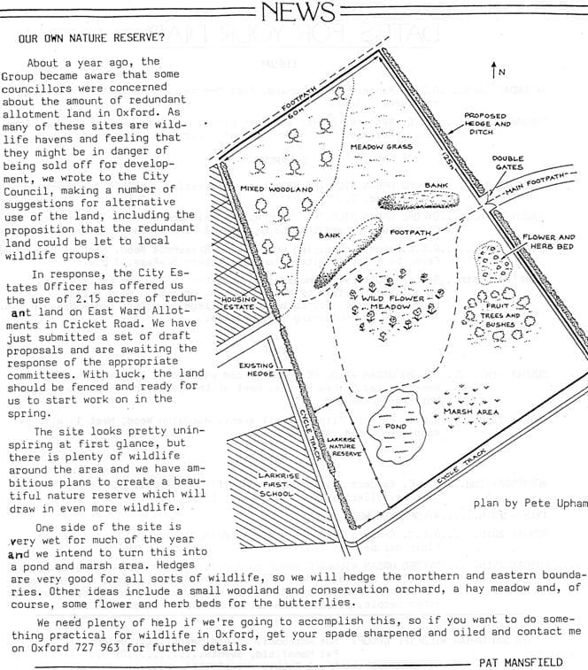 An initial plan is drawn up in 1989, showing wild flower meadow, mixed woodland, pond and marsh