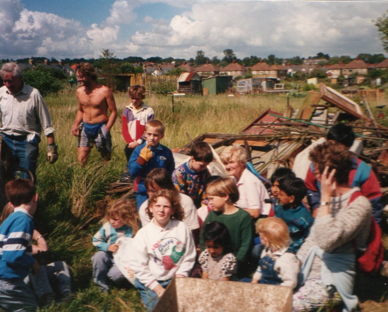A youthful work party sets to work on the reclaimed land from East Ward Allotments, 1990